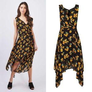 Topshop Marigold Floral Wrap Asymmetrical Dress